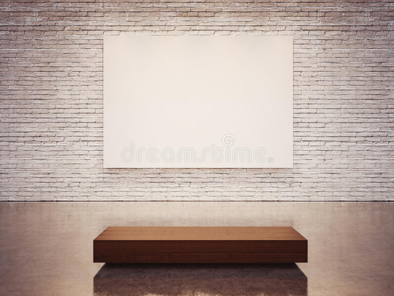 Zombe acima da lona vazia e da parede branca 3d rendem fotografia de stock royalty free
