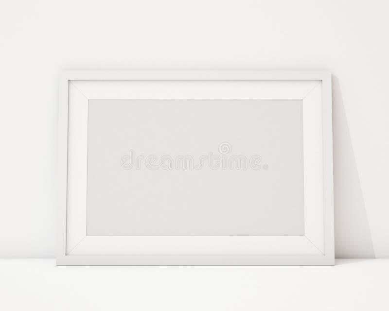 Zombe acima da moldura para retrato horizontal branca vazia no fundo interior branco ilustração stock