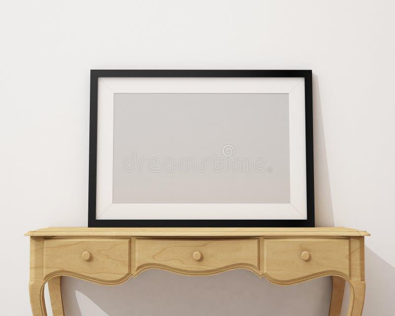 Zombe acima da moldura para retrato preta vazia na mesa e na parede brancas, fundo ilustração royalty free