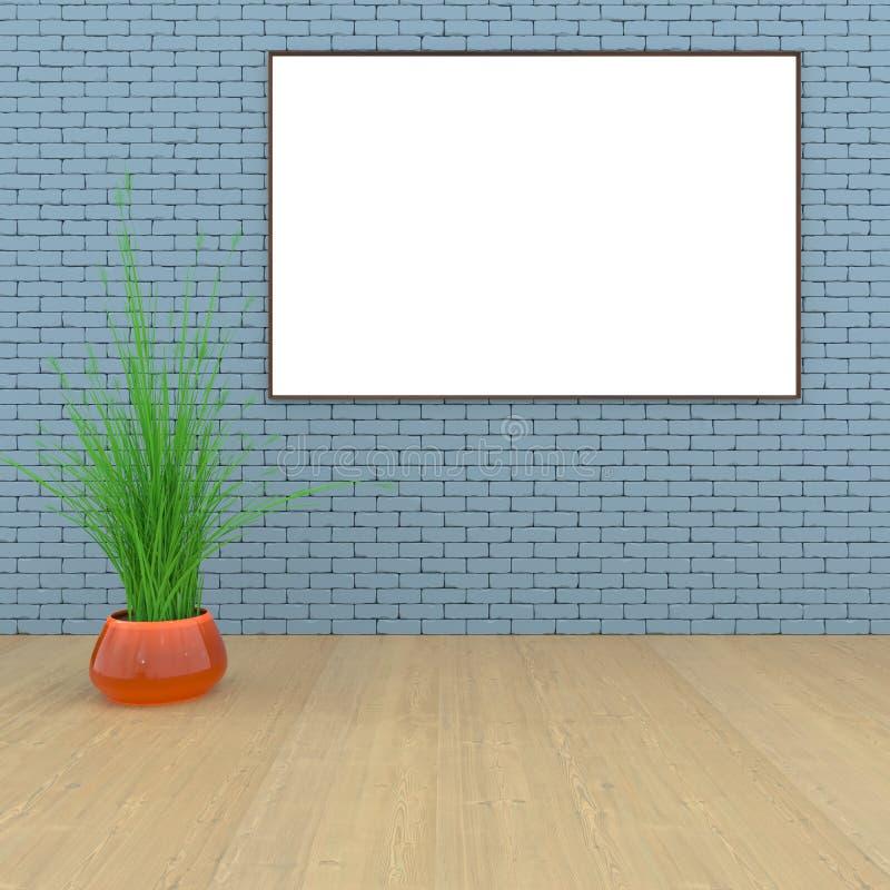 Zombe acima da sala, cartaz branco na rendição preta da parede 3D ilustração stock