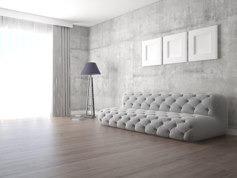 Zombe acima da sala de estar à moda com o sofá elegante original ilustração royalty free