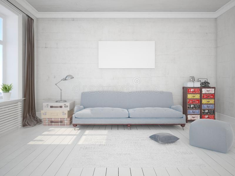 Zombe acima da sala de visitas elegante com um sofá original