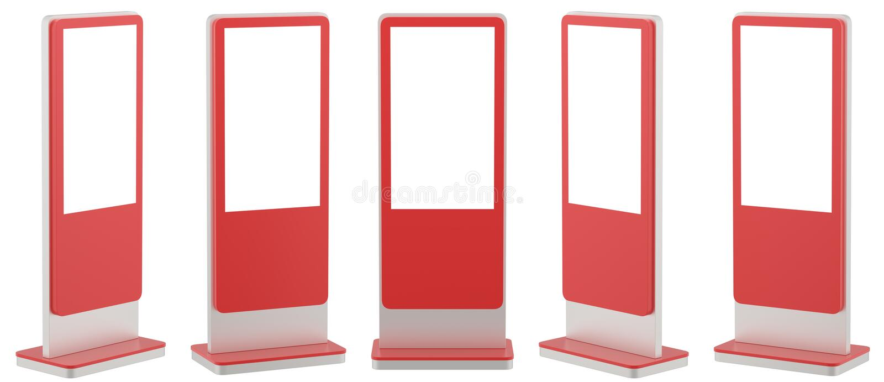 Zombe acima de cinco exposições de informação pretas Suportes da bandeira em seu projeto rendição 3d ilustração stock