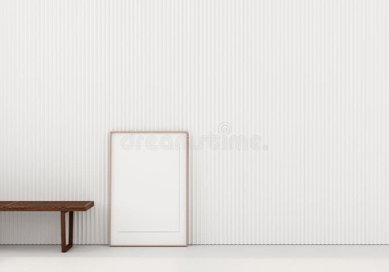 Zombe acima de interior com banco de madeira e cartaz ilustração stock