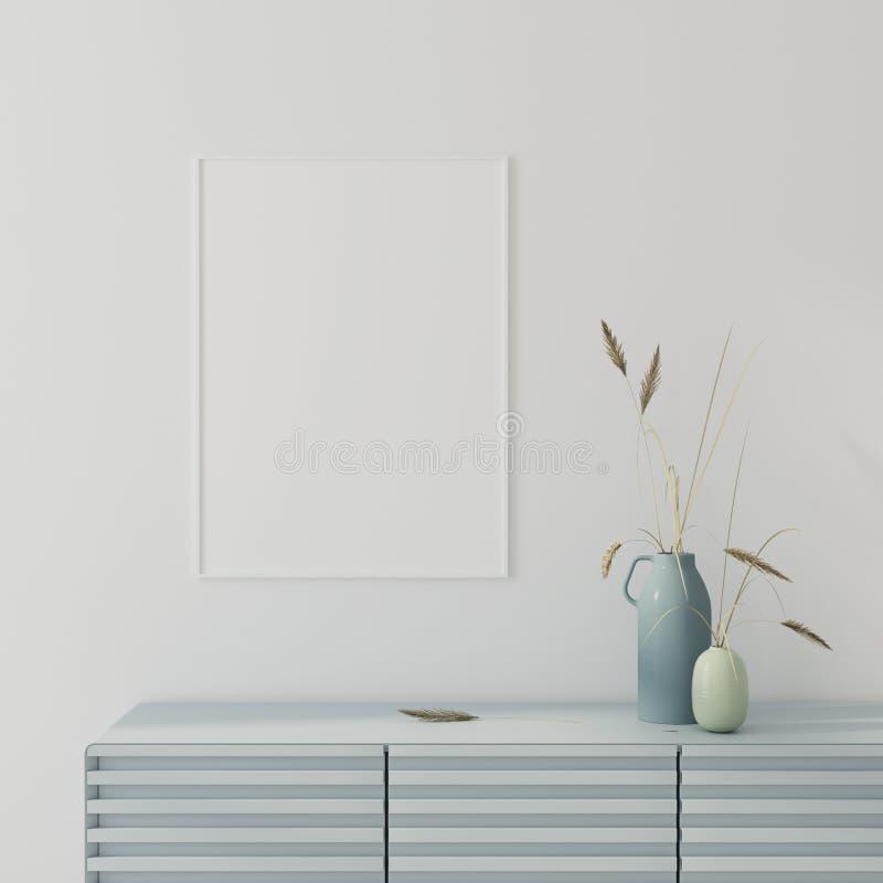 Zombe acima de interior com cartaz e a caixa de gavetas azul 3d rendem ilustração royalty free