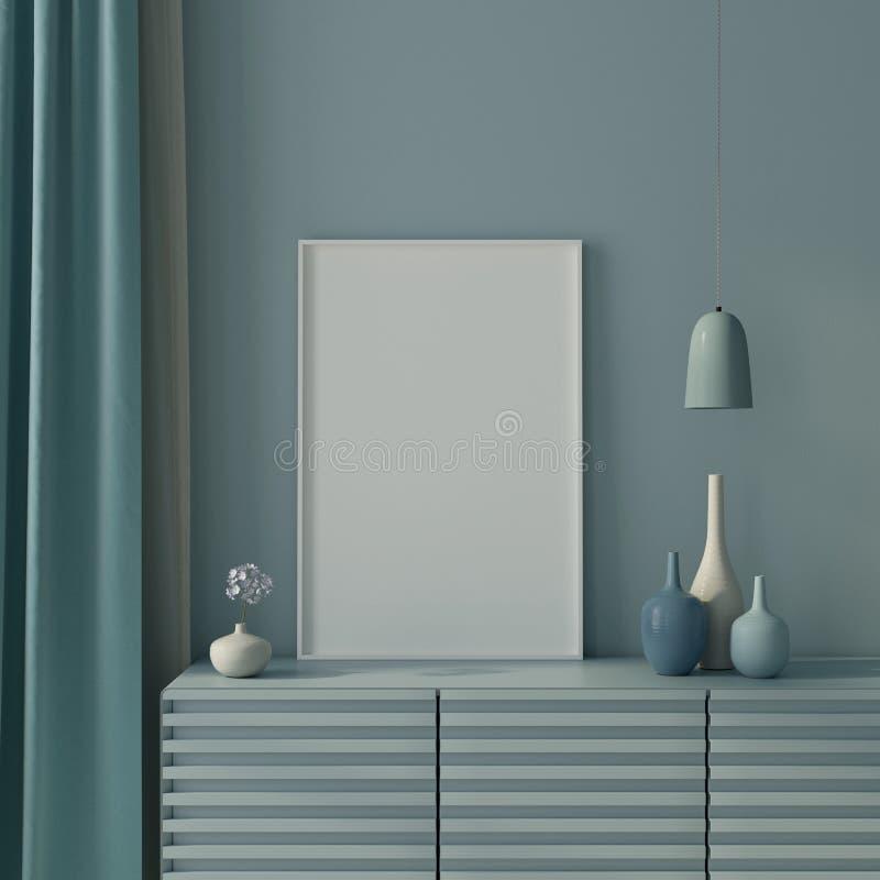 Zombe acima de interior no azul com cartaz e caixa de gavetas 3d rendem ilustração royalty free