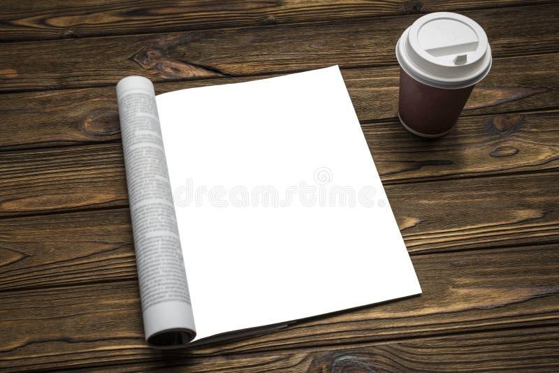 Zombe acima de um compartimento e de um café em um fundo de madeira marrom imagens de stock
