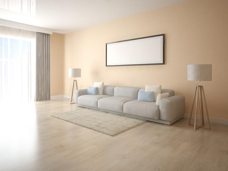 Zombe acima de uma sala de visitas brilhante com um grande sofá ilustração stock