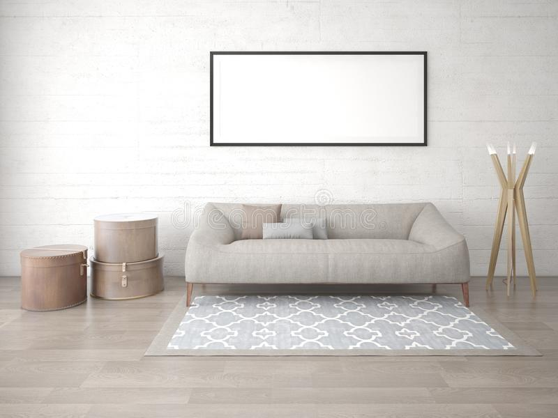 Zombe acima de uma sala de visitas moderna com um sofá na moda ilustração royalty free