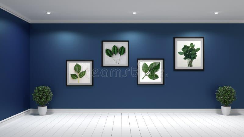 Zombe acima, design de interiores da sala de visitas do moderno, rendição 3D ilustração stock
