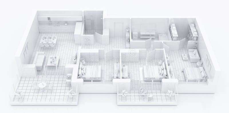Zombe acima do apartamento home fornecido, modelo de papel ilustração do vetor