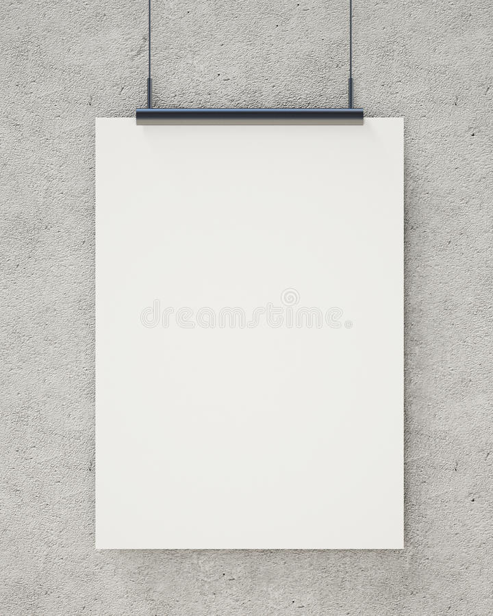 Zombe acima do cartaz de suspensão branco vazio no muro de cimento, fundo ilustração do vetor