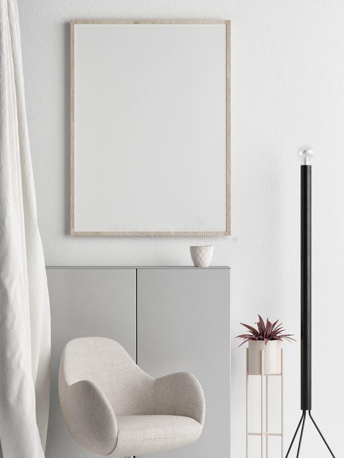 Zombe acima do cartaz, design de interiores escandinavo, seu trabalho aqui, ilustração do vetor