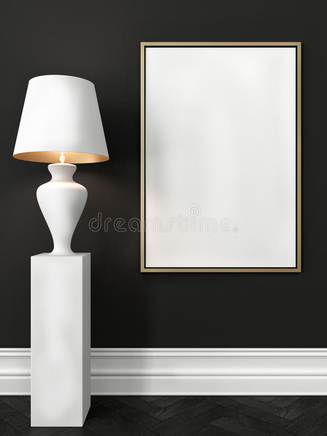 Zombe acima do cartaz e de uma lâmpada de assoalho branca ilustração royalty free