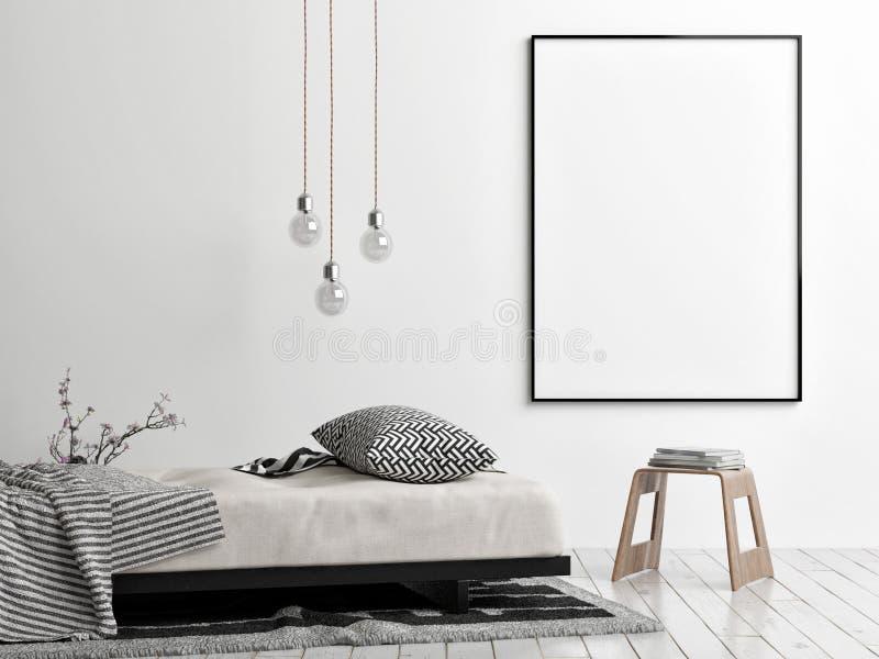 Zombe acima do cartaz, do estilo escandinavo, do sofá, da cadeira e da lâmpada ilustração royalty free