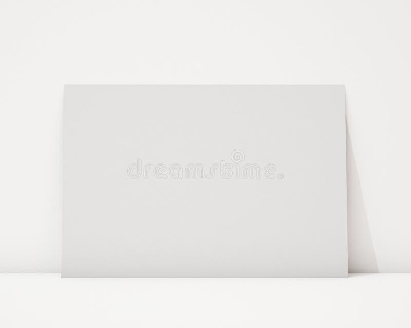 Zombe acima do cartaz horizontal vazio na parede branca e no assoalho, fundo ilustração do vetor