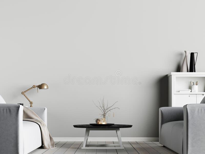 Zombe acima do cartaz na parede no interior com fundo emty com poltrona, estilo escandinavo da parede ilustração royalty free