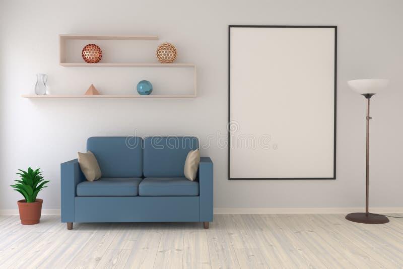 Zombe acima do cartaz na sala de visitas com uma lâmpada de assoalho, um sofá e uma prateleira moderna ilustração do vetor