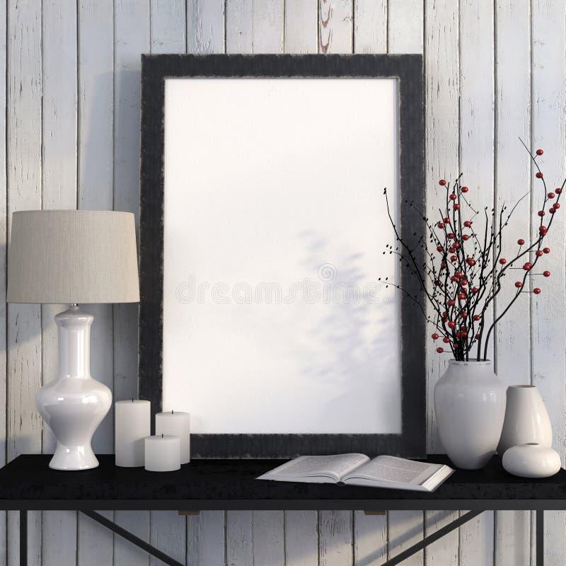 Zombe acima do cartaz na tabela do metal contra as placas brancas ilustração stock
