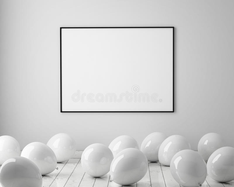Zombe acima do cartaz no fundo interior com os balões brancos no assoalho, 3D rendem ilustração do vetor