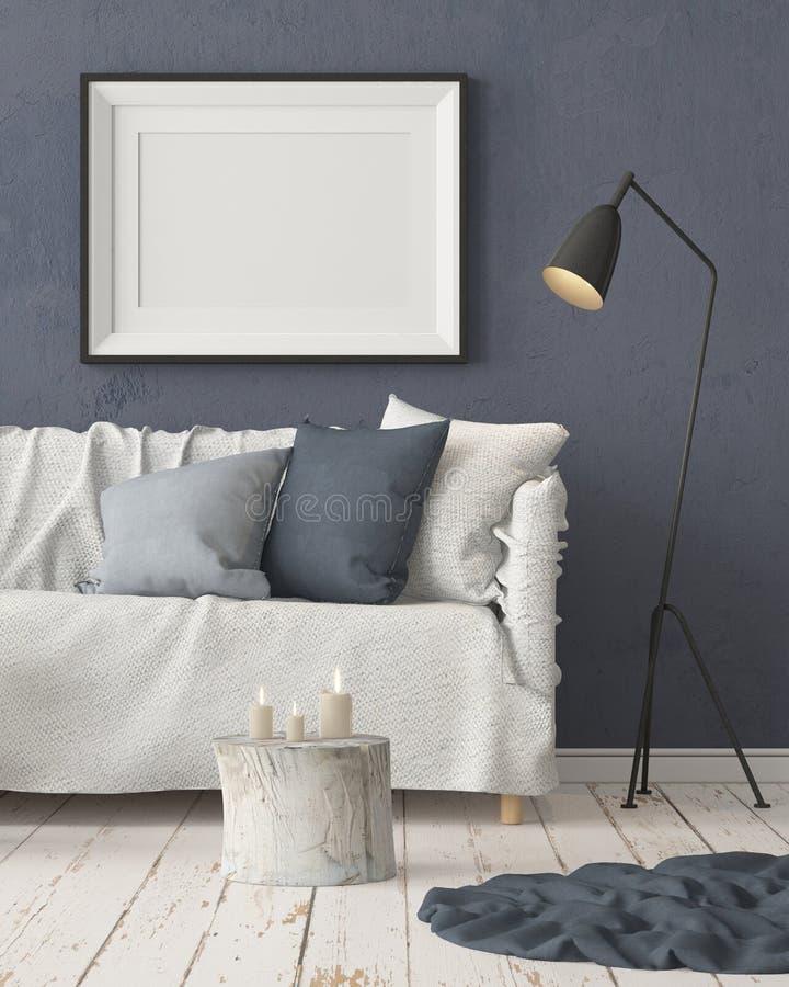 Zombe acima do cartaz no interior ao estilo de uma retardação com uma cadeira Estilo escandinavo rendição 3d ilustração do vetor