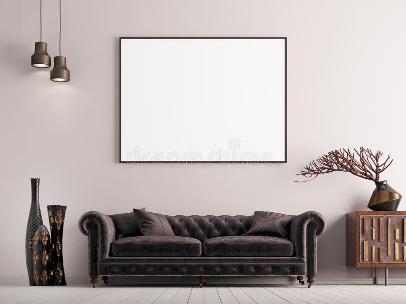 Zombe acima do cartaz no interior clássico do estilo com sofá e a planta marrons ilustração royalty free