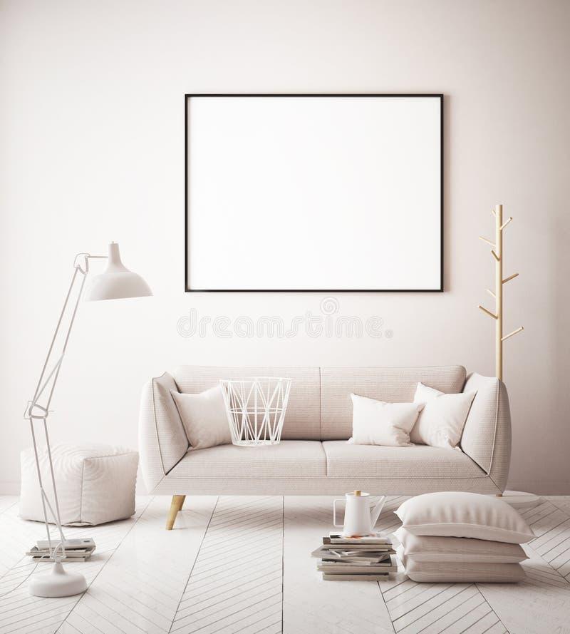 Zombe acima do cartaz no interior do fundo do moderno, interior colorido cor pastel, ilustração do vetor
