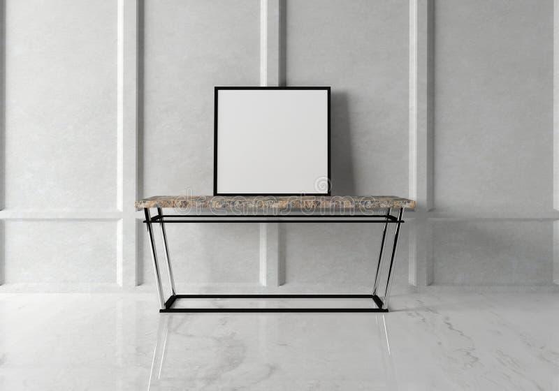 Zombe acima do cartaz no interior moderno com uma tabela do mármore do console rendição 3d ilustração royalty free