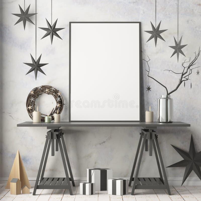 Zombe acima do cartaz no interior do Natal no estilo escandinavo rendição 3d ilustração royalty free