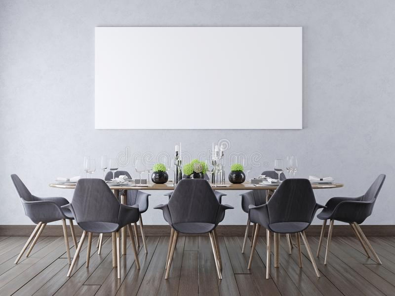 Zombe acima do cartaz vazio em uma parede em uma sala de jantar moderna ilustração do vetor