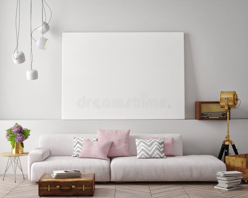 Zombe acima do cartaz vazio na parede da sala de visitas ilustração royalty free