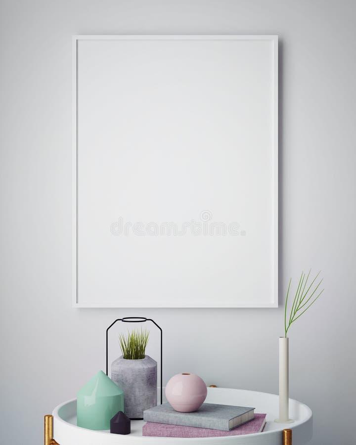 Zombe acima do cartaz vazio na parede da sala de visitas do moderno ilustração stock