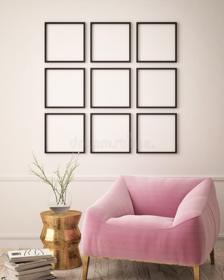 Zombe acima do cartaz vazio na parede da sala de visitas do moderno, ilustração stock