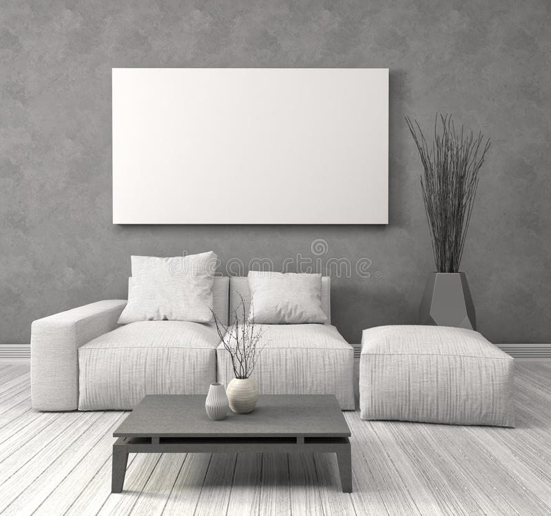Zombe acima do cartaz vazio na parede do interior com sofá illus 3d ilustração do vetor