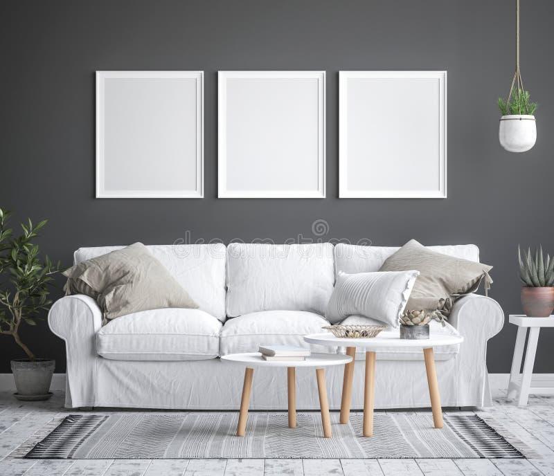 Zombe acima do fundo interior do quadro do cartaz, estilo escandinavo ilustração stock
