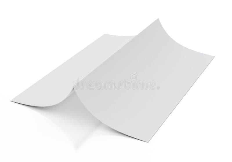 Zombe acima do modelo do folheto vazio que encontra-se, isolado no fundo branco ilustração do vetor