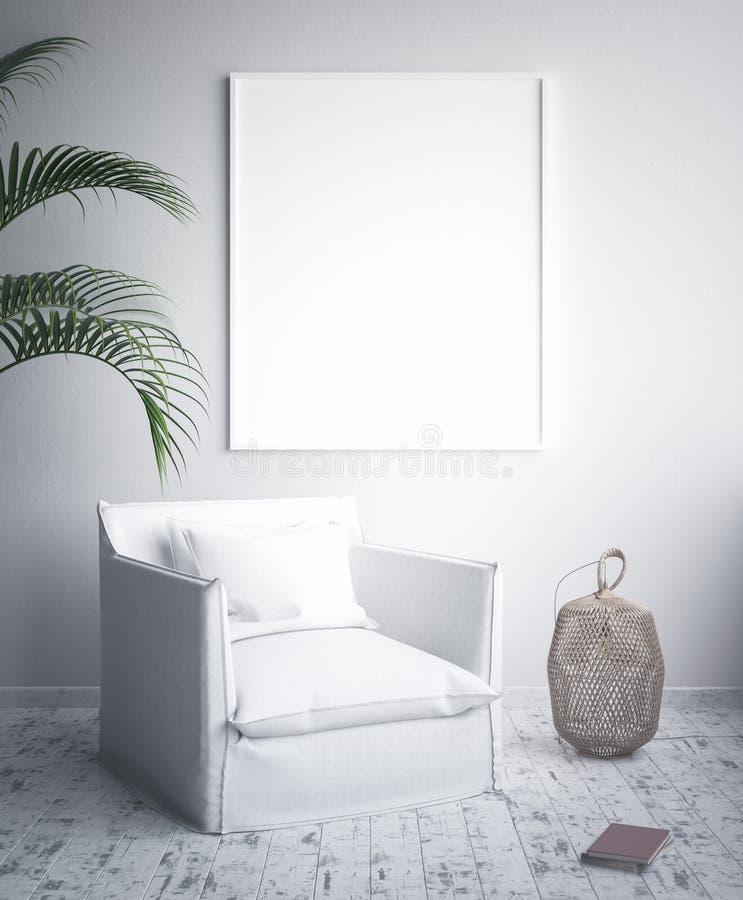 Zombe acima do quadro do cartaz, minimalismo interior, projeto escandinavo ilustração do vetor