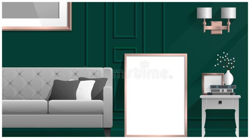 Zombe acima do quadro do cartaz na sala de visitas, fundo interior ilustração royalty free
