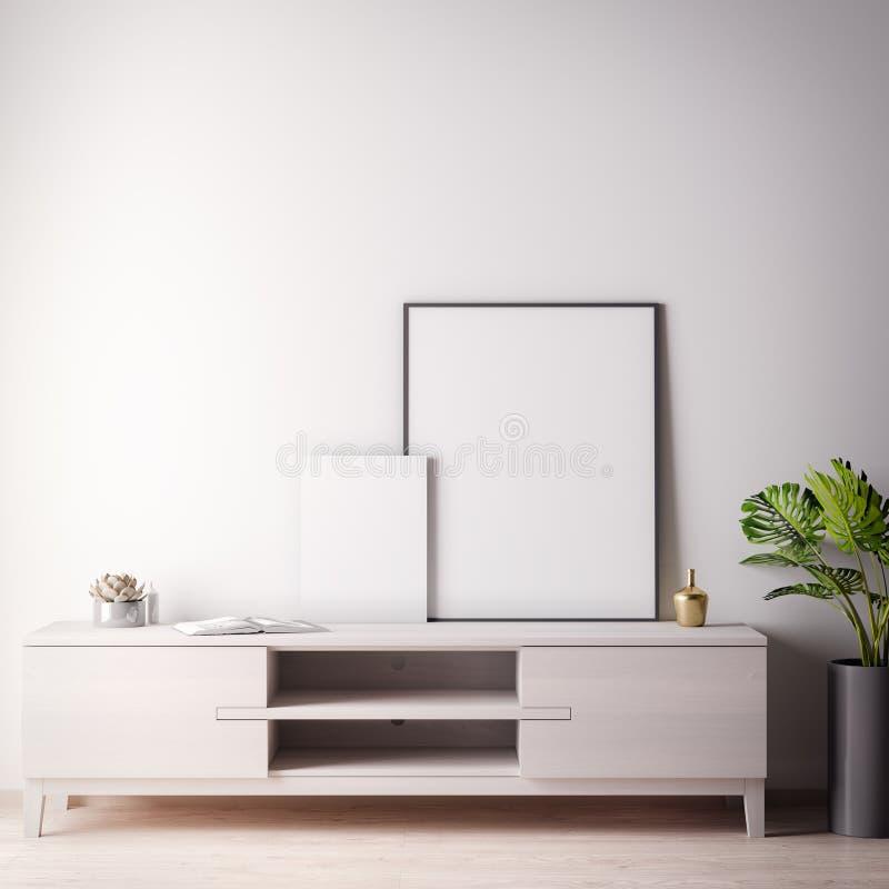 Zombe acima do quadro do cartaz na sala interior com estilo wal, moderno branco, ilustração 3D ilustração do vetor