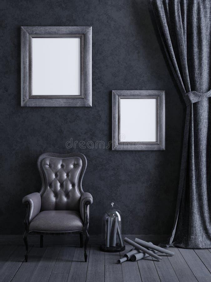 Zombe acima do quadro do cartaz no fundo interior do conceito cinzento, 3D ren ilustração royalty free