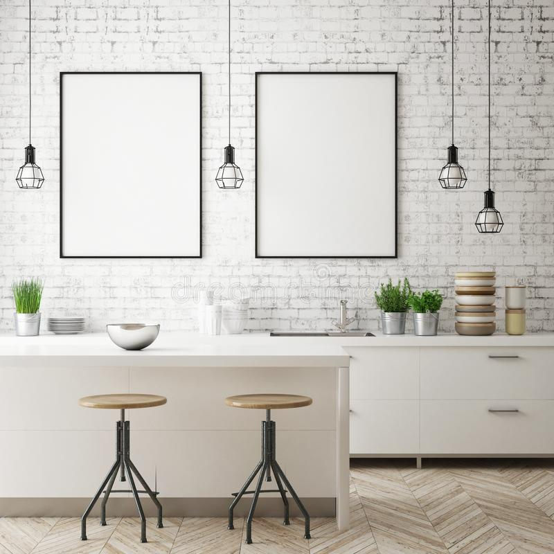 Zombe acima do quadro do cartaz no fundo interior da cozinha, estilo escandinavo, 3D rendem