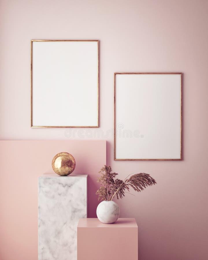 zombe acima do quadro do cartaz no fundo interior geométrico, cores pastel, 3D rendem, a ilustração 3D ilustração do vetor
