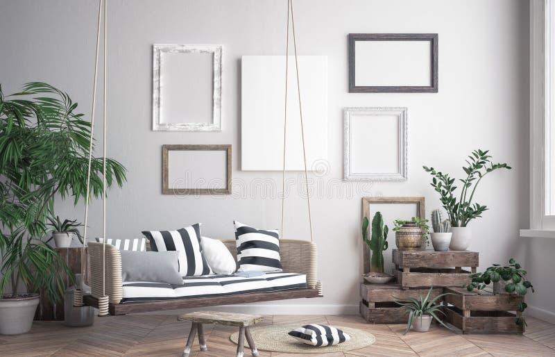 Zombe acima do quadro do cartaz no fundo interior do moderno, estilo escandinavo ilustração royalty free