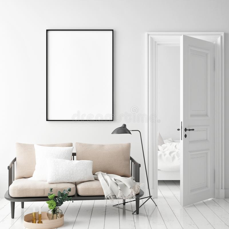 Zombe acima do quadro do cartaz no fundo interior do moderno, estilo escandinavo imagens de stock royalty free