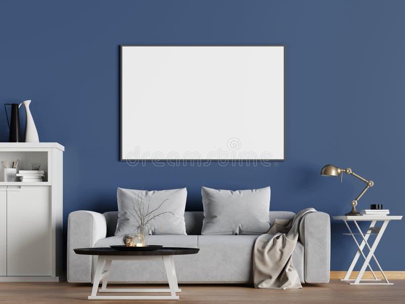 Zombe acima do quadro do cartaz no fundo interior do moderno, estilo escandinavo ilustração stock