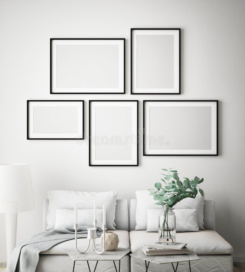 Zombe acima do quadro do cartaz no fundo interior do moderno, estilo escandinavo, 3D rendem ilustração do vetor