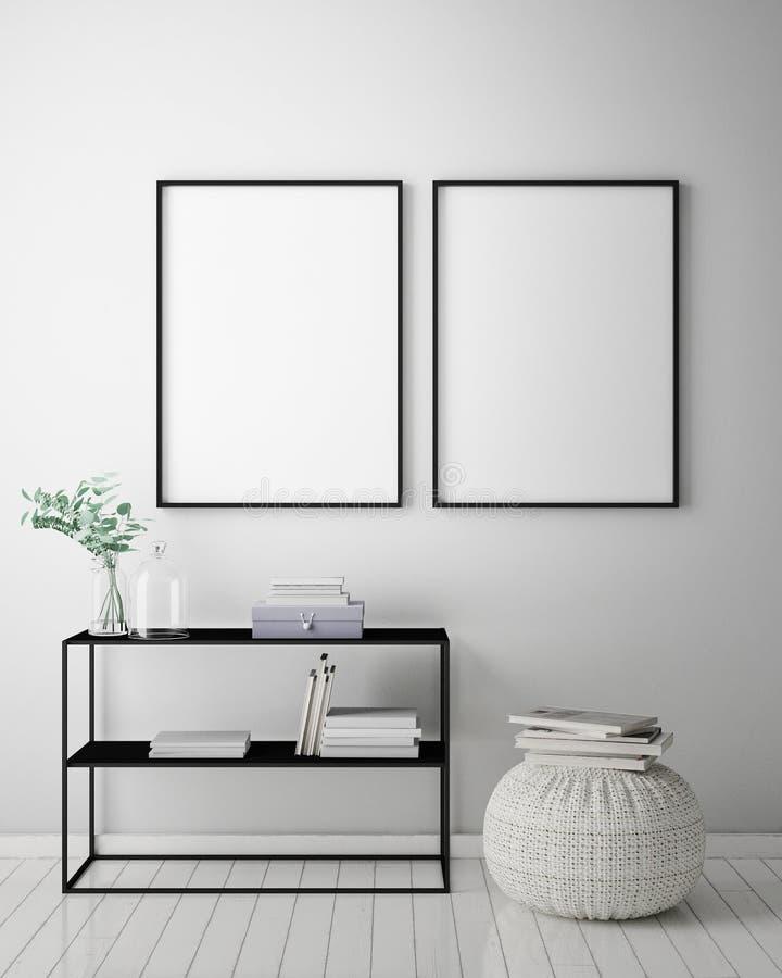 Zombe acima do quadro do cartaz no fundo interior do moderno, estilo escandinavo, 3D rendem ilustração royalty free