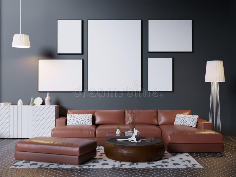 Zombe acima do quadro do cartaz no fundo interior do moderno, estilo escandinavo, 3D rendem, a ilustração 3D ilustração stock