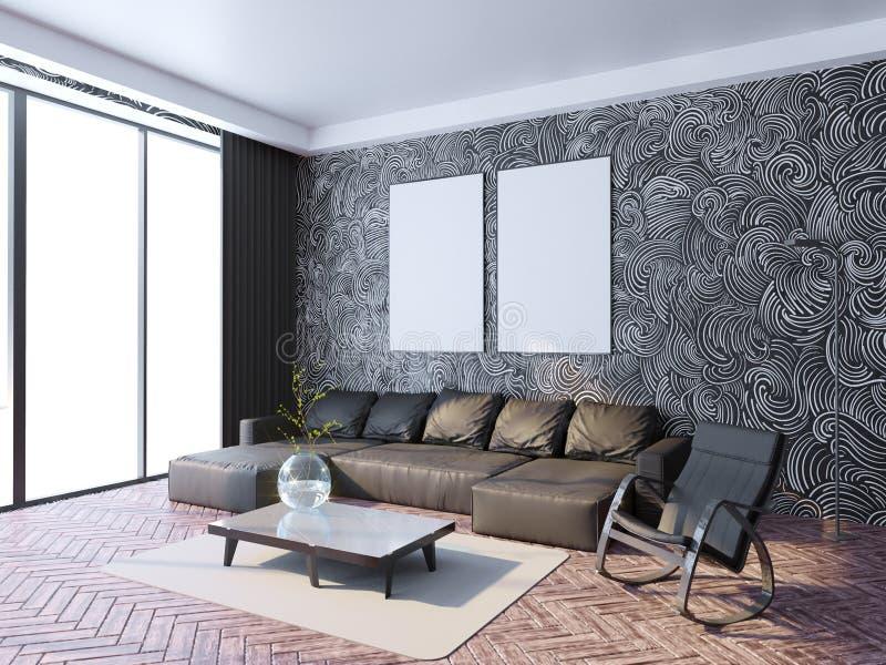 Zombe acima do quadro do cartaz no fundo interior do moderno, estilo escandinavo, 3D rendem, a ilustração 3D foto de stock royalty free