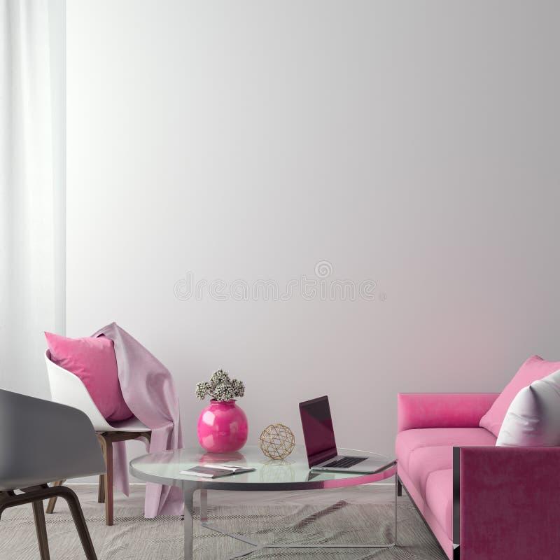 Zombe acima do quadro do cartaz no fundo interior do moderno, estilo escandinavo, ilustração 3D ilustração stock